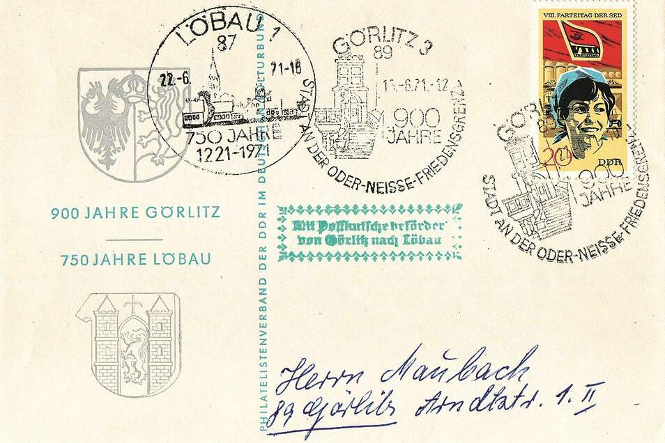 750 Jahre Löbau und 900 Jahre Görlitz wurden 1971 fast zeitgleich gefeiert. Am 22. Juni überbrachte eine historische Postkutsche Glückwünsche von Görlitz nach Löbau. Bei Philatelisten waren Karten begehrt, die mit dieser Kutsche befördert wurden und mit Sonderstempeln an die Jubiläen erinnerten.