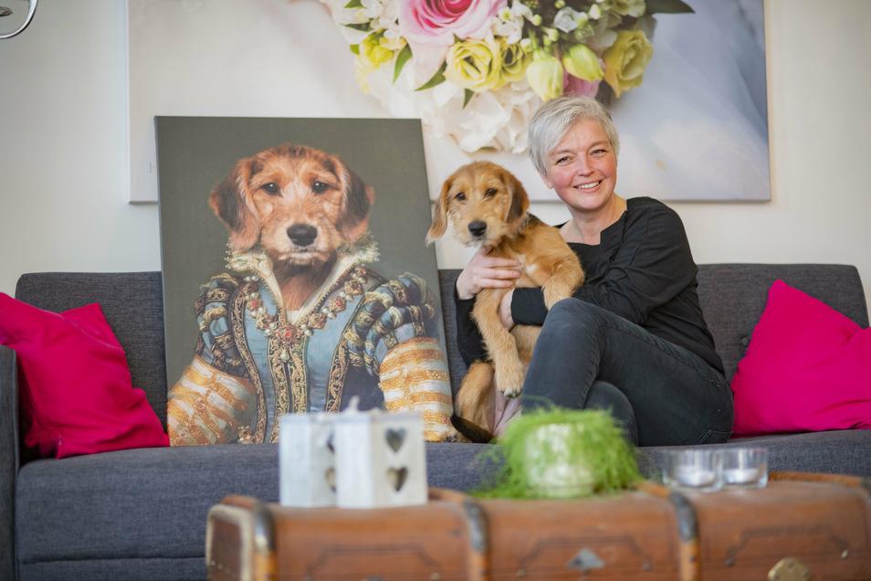 """Henriette Braun setzt in ihrer Fotowerkstatt in Kamenz neuerdings nicht nur Menschen in Szene, sondern auch immer öfter Tiere. Auch ihre eigene Hündin Curry wurde beim Aristo-Pets-Shooting bereits """"geadelt""""."""