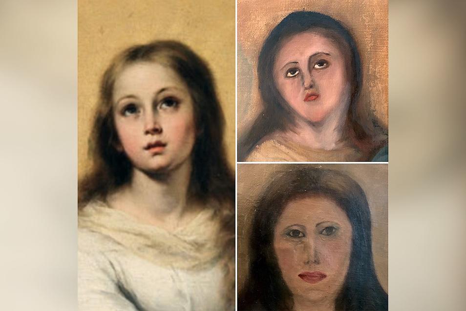 Die Kopie eines der Marienbildnisse des spanischen Barockmalers Bartolome Esteban Murillo (l), der 1. Restaurierungsversuch (oben) und der 2 Versuch.