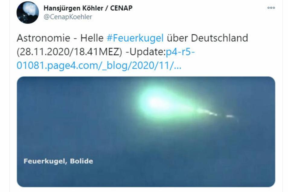 Bilder des Feuerballs verbreiteten sich über soziale Netzwerke wie Twitter.
