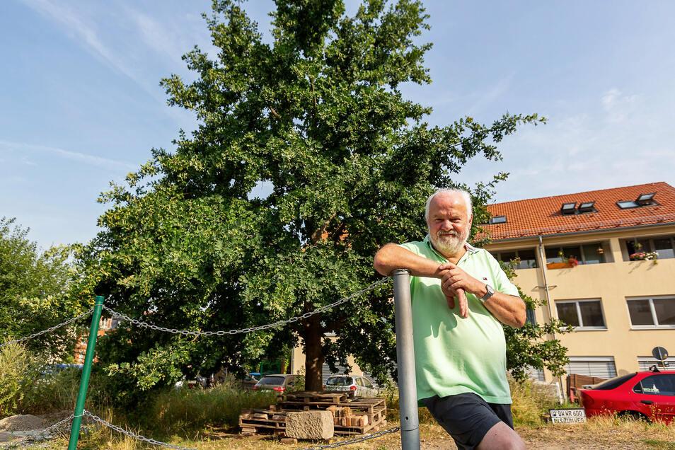 Wilfrid Richter möchte, dass die Eiche hinter ihm im Zuge des Pflegeheim-Neubaus in Kreischa erhalten bleibt.