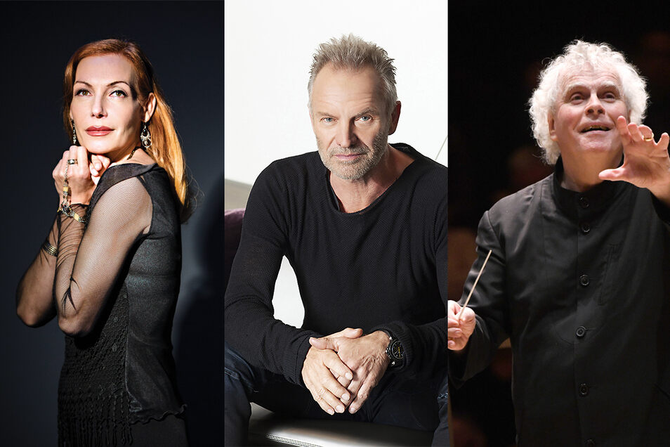 Drei von zig Stargästen unterschiedlicher Genres bei den Musikfestspielen 2021: Musical-Diva Ute Lemper, Rocksänger Sting (M) und Dirigent Sir Simon Rattle.
