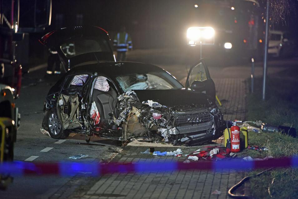 Bei dem Unfall in Löbau im Dezember 2018 kamen zwei Beifahrer der betrunkenen Fahrerin ums Leben.