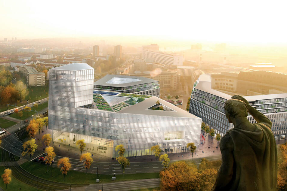 Um die Höhe des neuen Turms wird in Dresden heftig diskutiert.