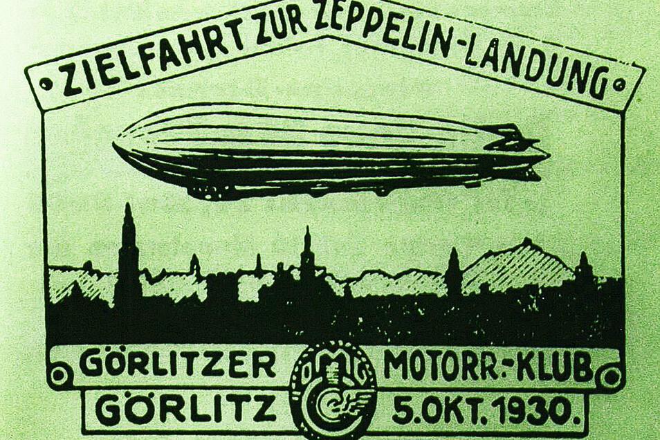 """Zum Ereignis gehörten auch mehrere Erinnerungsplaketten, zum Beispiel zu einer vom Görlitzer Motorradklub veranstalteten """"Zielfahrt zur Zeppelin-Landung"""". Repro: Sammlung Schermann"""
