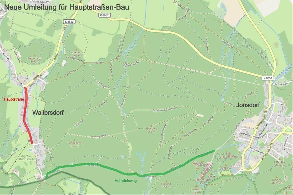 Die geplante Umleitungsstrecke für den Waltersdorfer Hauptstraßenbau soll über Jonsdorf auf dem Hohlsteinweg durch den Wald führen.
