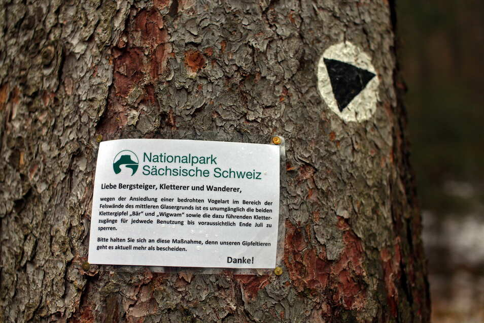 Mit Hinweisschildern wie diesem weist der Nationalpark auf die vorübergehende Gipfelsperrungen in der Sächsischen Schweiz hin.