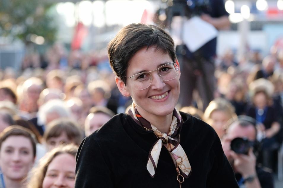 Anke Stelling bei der Verleihung des Buchpreises der Leipziger Buchmesse.