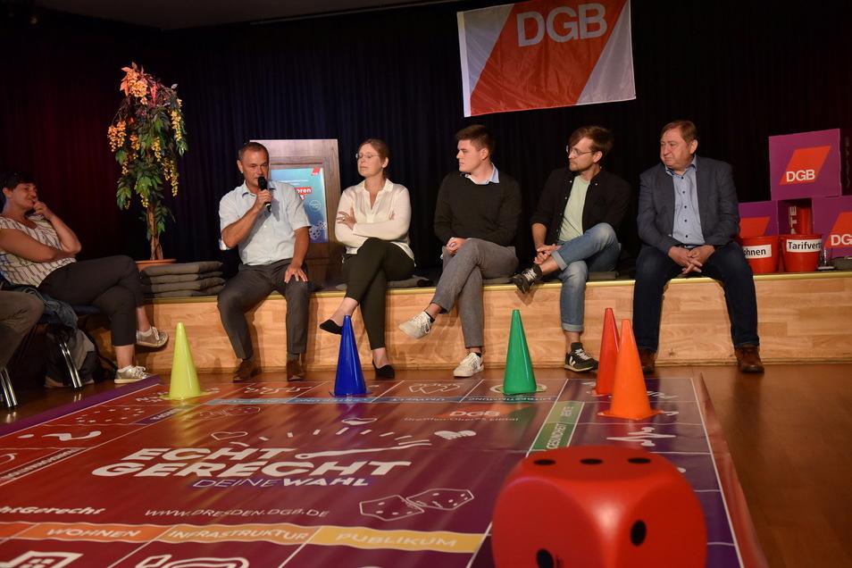 Beim Wahlforum des DGB im Kulturhaus Freital hatten alle Beteiligten ihren Spaß.