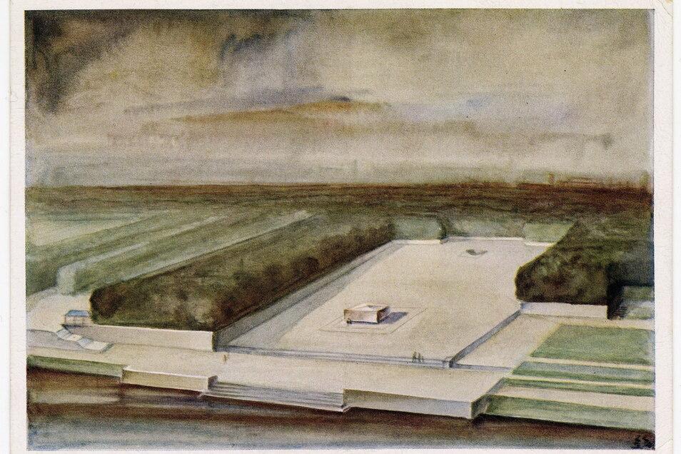 Plan für den monumentalen Richard-Wagner-Hain in Leipzig, der nie realisiert wurde.