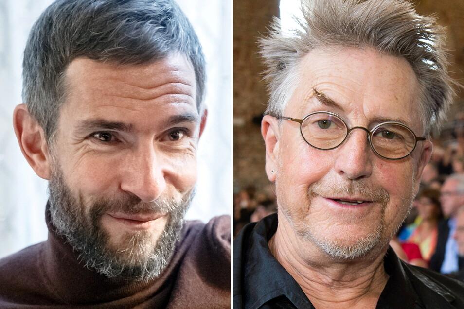 Der Journalist und Autor Micky Beisenherz (Archivfoto, links) und Schauspieler Martin Semmelrogge (Archivfoto). Semmelrogge ist wegen eines Corona-Witzes sauer auf Beisenherz.