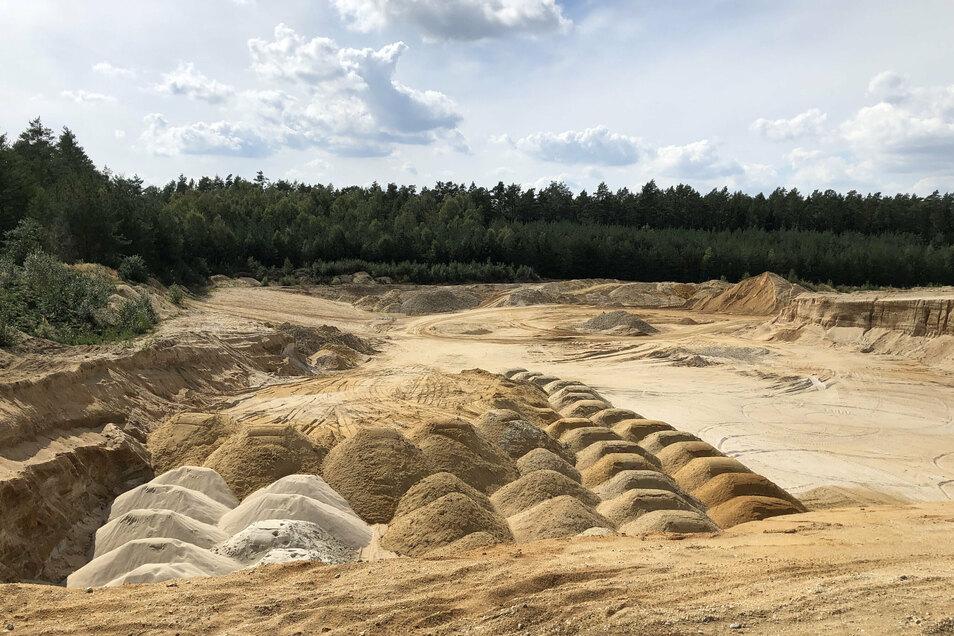 Kies-Abbaufeld in der Laußnitzer Heide. Ein weiterer Tagebau westlich des Dorfes Würschnitz ist bereits geplant.