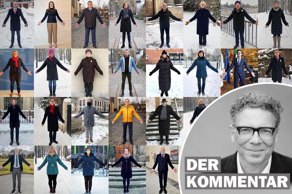 Zu Hause erinnern: Die Menschenkette zum Gedenken an die Luftangriffe auf Dresden am 13. Februar 1945 findet am Sonnabend virtuell statt: Fotos wie diese von Dresdnerinnen und Dresdnern werden abends an markante Gebäude projiziert.