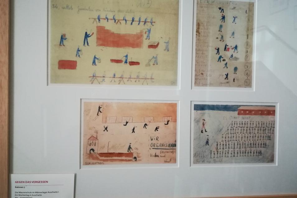 """Diese Zeichnungen stellen Szenen aus dem Alltag im KZ Auschwitz dar. Thomas Greve, damals 13 Jahre alt, hat einiges erlebt, was sich nie wiederholen sollte. Deshalb hat er eine Ausstellung """"Gegen das Vergessen"""" der François Maher Presley Stiftung für Kuns"""
