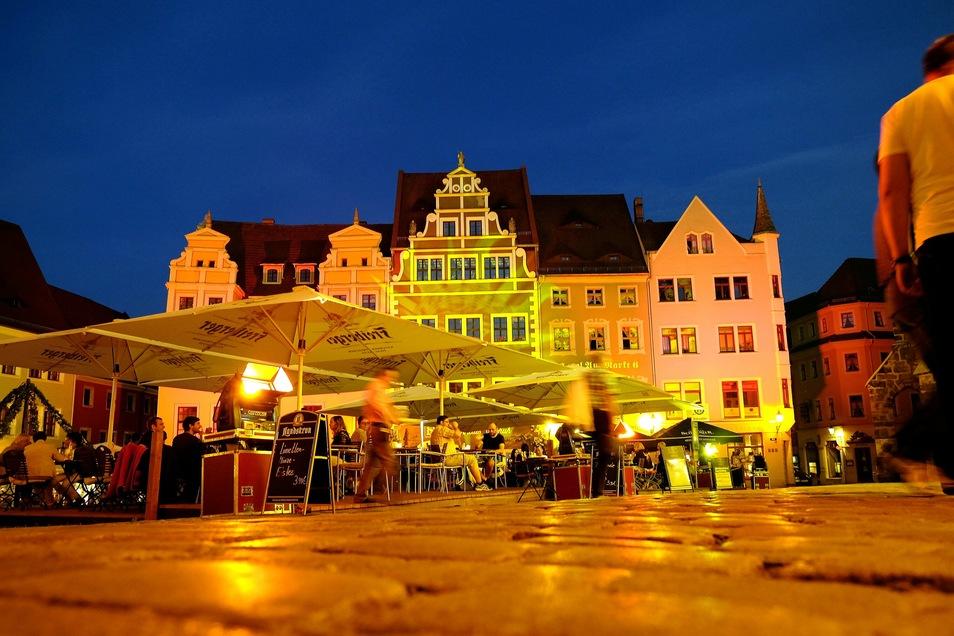 Der Markt in Meißen in abendlicher Stimmung.