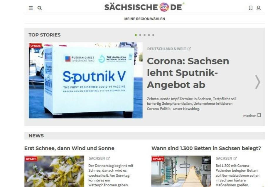 Neuer Name, neues Design, neuer Anspruch: So sieht die Webseite von Sächsische.de heute aus.