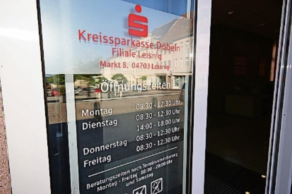 Mittwochs, zum Wochenmarkt, hat nicht nur die Sparkassenfiliale in Leisnig geschlossen.