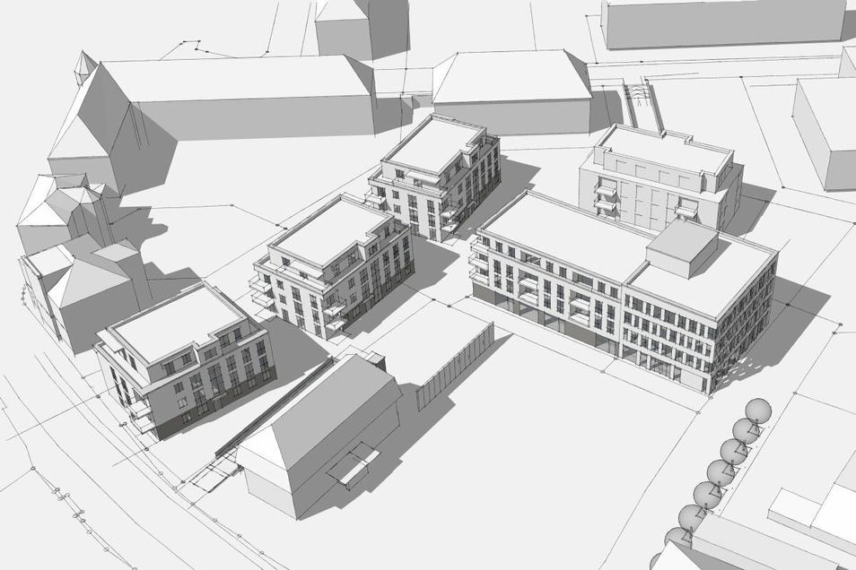 Die fünf neuen Häuser rund um Heidenaus Markt zwischen Bahnhofstraße und Mügeln: Das bestehende Gebäude im Vordergrund ist das Stadthaus. Die Häuser links sind die an der Bahnhofstraße.