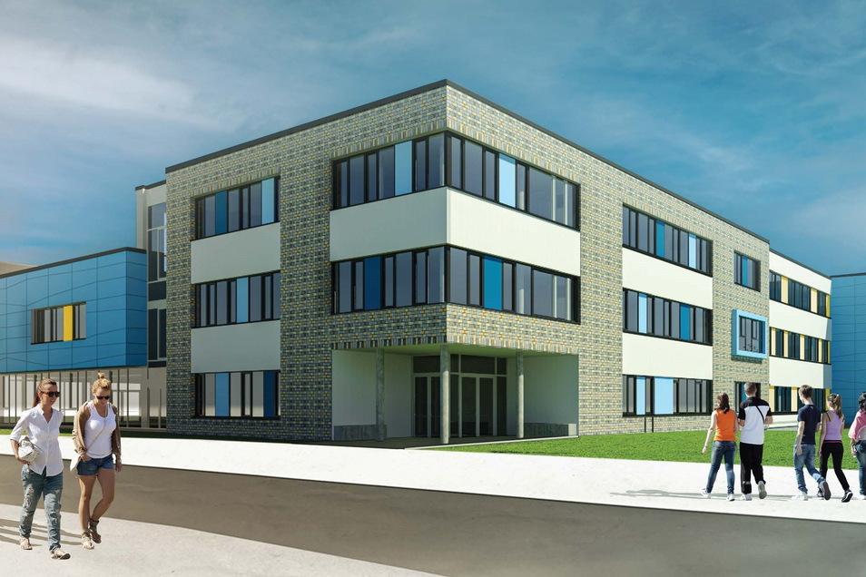 Die Entwurfsplanung zeigt die neue Oberschule der Stadt Rothenburg. Links schließen sich die Mensa und darüber die Fachkabinette an.