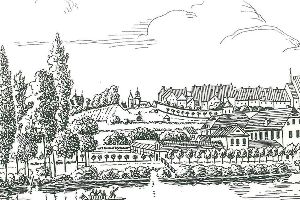 Die Zeichnung zeigt die Mauersche Badeanstalt – da, wo später das Kondensatorenwerk errichtet wurde.