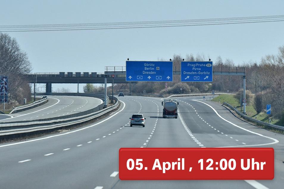 Sogar die A4 bei Wilsdruff war fast leer.