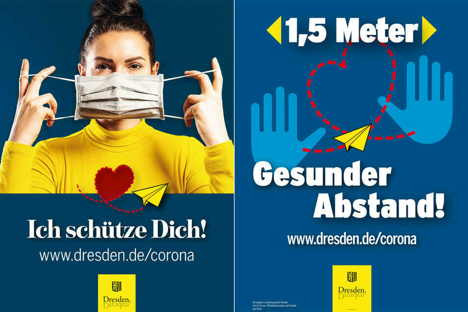 Wenn schon raus in die Einkaufsstraßen, dann bitte mit Mundschutz. Dresden wirbt auf Plakaten für das Tragen. Pflicht ist ein Mund-Nasen-Schutz im Freien nur an Haltestellen und in Fußgängerzonen wie der Prager Straße.
