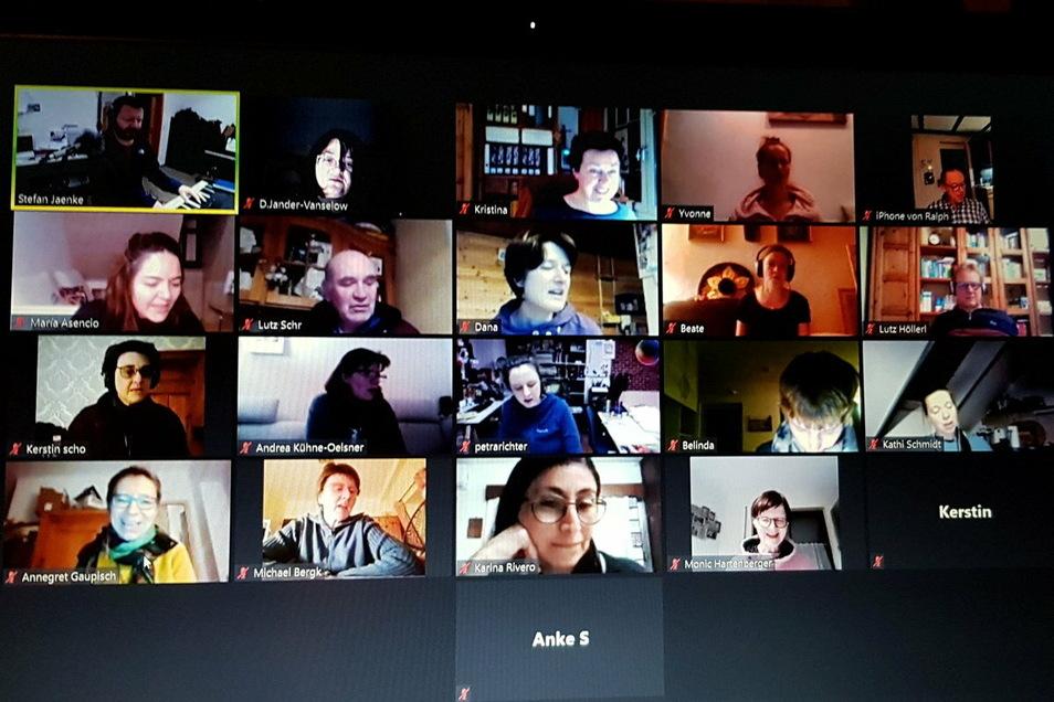Ein Chor bei der Onlineprobe per Video-Chat.