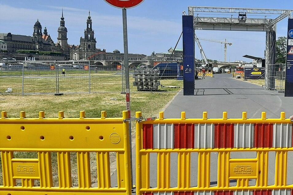 Bis zum Freitag ist das Dresdner Königsufer für Radfahrer tagsüber nicht passierbar.