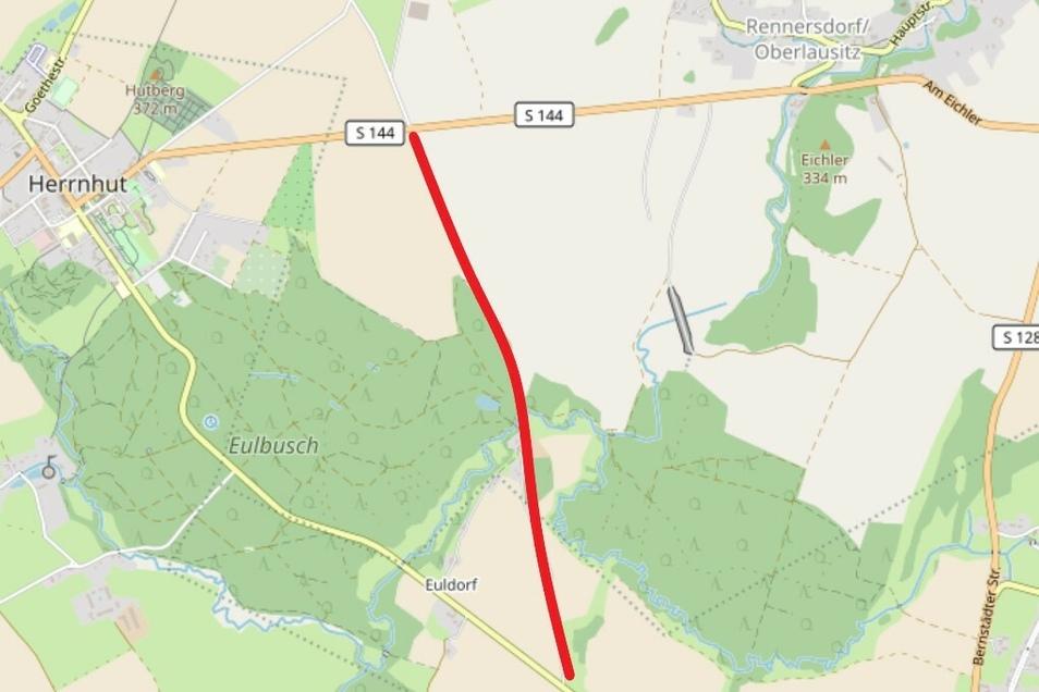 So soll - grob skizziert - das nun anvisierte Stück Radweg zwischen Großhennersdorf und Herrnhut verlaufen.