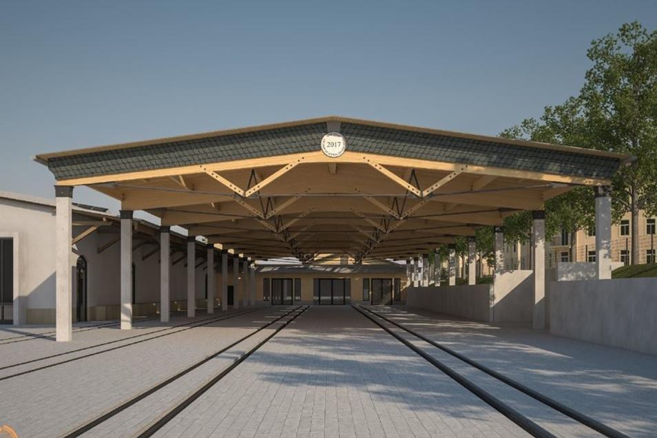 So wird sie im nächsten Jahr aussehen – die Halle für die Waggons der sächsischen Schmalspurbahnen.