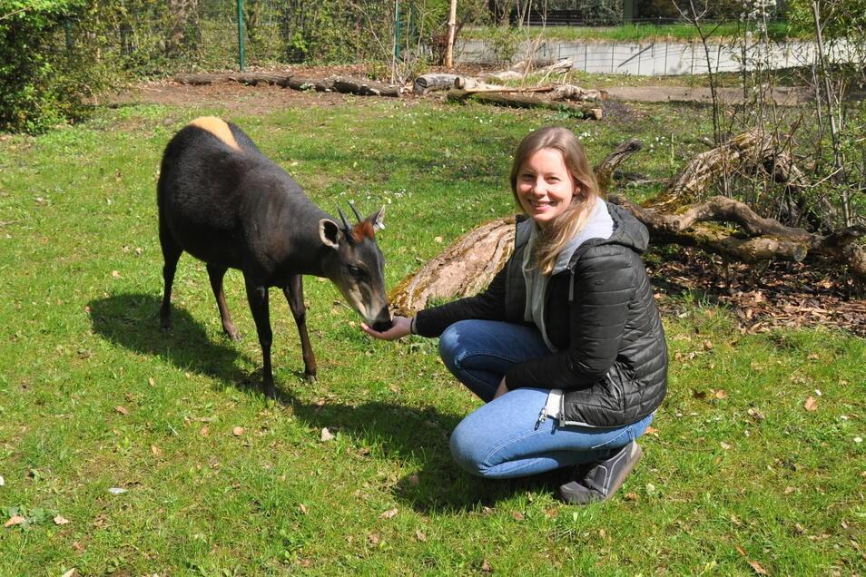 Janina Kraemer mit einem Gelbrückenducker im Zoo Frankfurt. Die gebürtige Koblenzerin wird im Mai die Leitung des Riesaer Tierparks übernehmen.