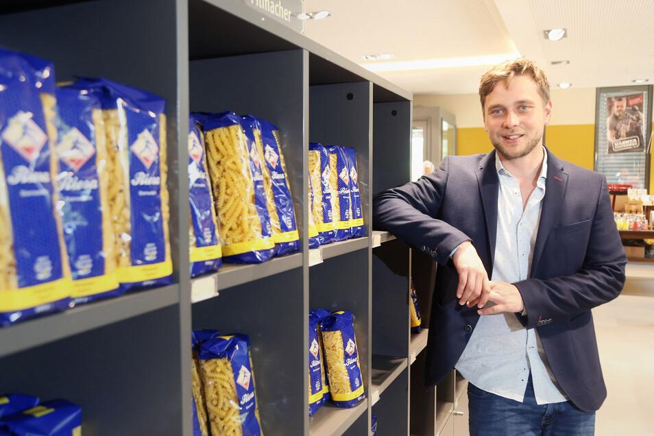 Geschäftsführer André Freidler im Nudelkontor der Teigwaren Riesa. Seit März 2019 leitet er die Geschäfte vor Ort.