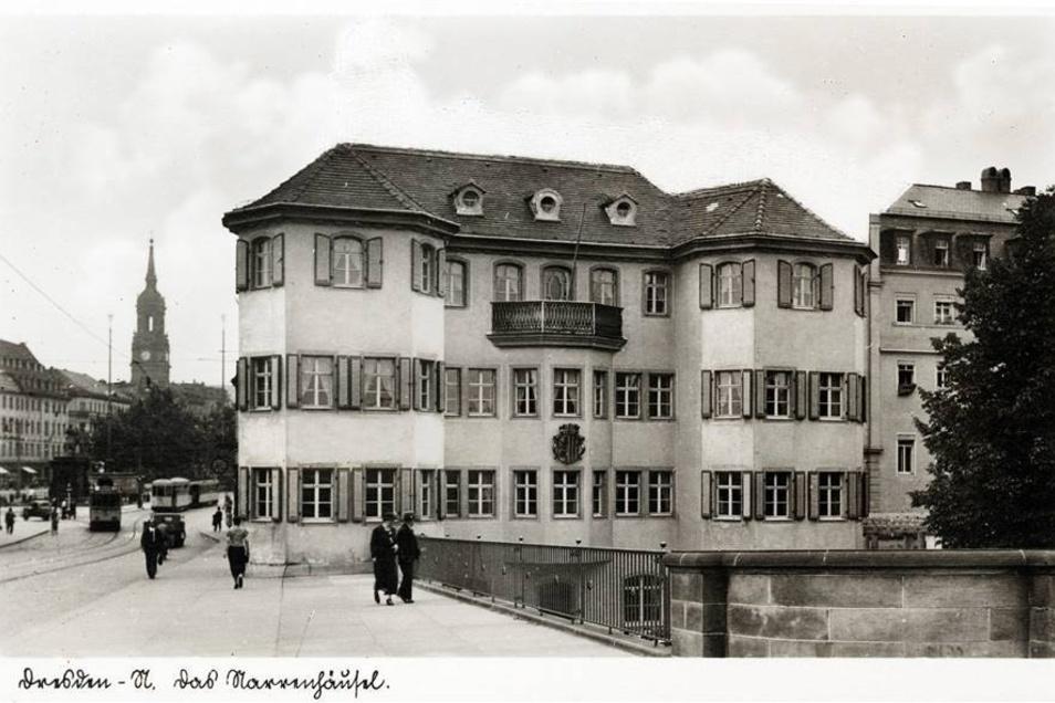 Das Gebäude - hier auf einer Postkarte um 1935 - wurde im Zweiten Weltkrieg zerstört. Der Name lebte aber zu DDR-Zeiten weiter, als sich dort in einem Flachbau eine Gaststätte befand.