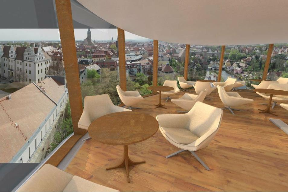 Café mit Aussicht: Solch einen tollen Blick über die Stadt könnte das Dachcafé im Burgwasserturm bieten.