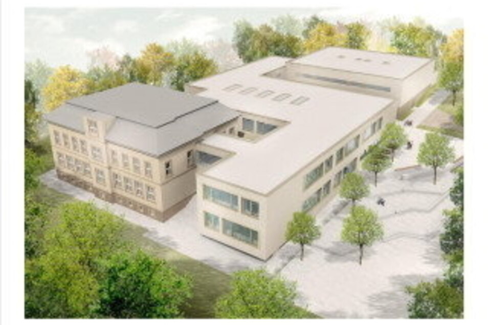 Das Modell zeigt, wie die Grundschule auf dem Questenberg nach der Sanierung und Erweiterung aussehen wird. Die Stadt investiert in dieses Bauvorhaben insgesamt 15,5 Millionen Euro.