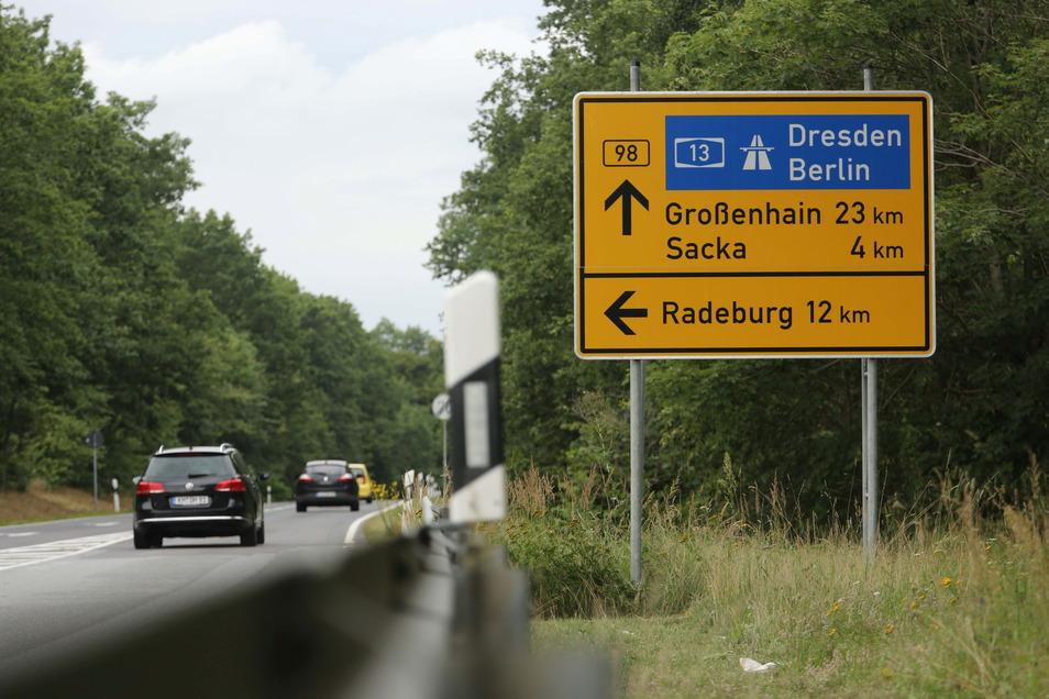 Zwischen Glauschnitz und dem Abzweig Röhrsdorf ist ab Montag eine Vollsperrung der B 98 geplant.