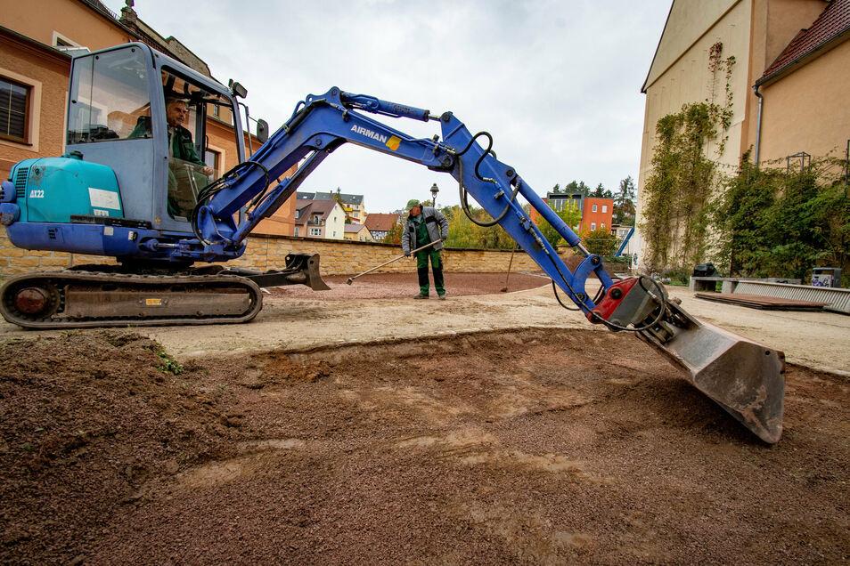 """""""Die Gartenzwerge"""" aus Waldheim haben in der Anlage an der Ritterstraße das Mineralgemisch entfernt und eine andere Mischung eingebracht. Die spezielle pflegeleichte Bepflanzung hatte sich nicht wie erwartet entwickelt."""