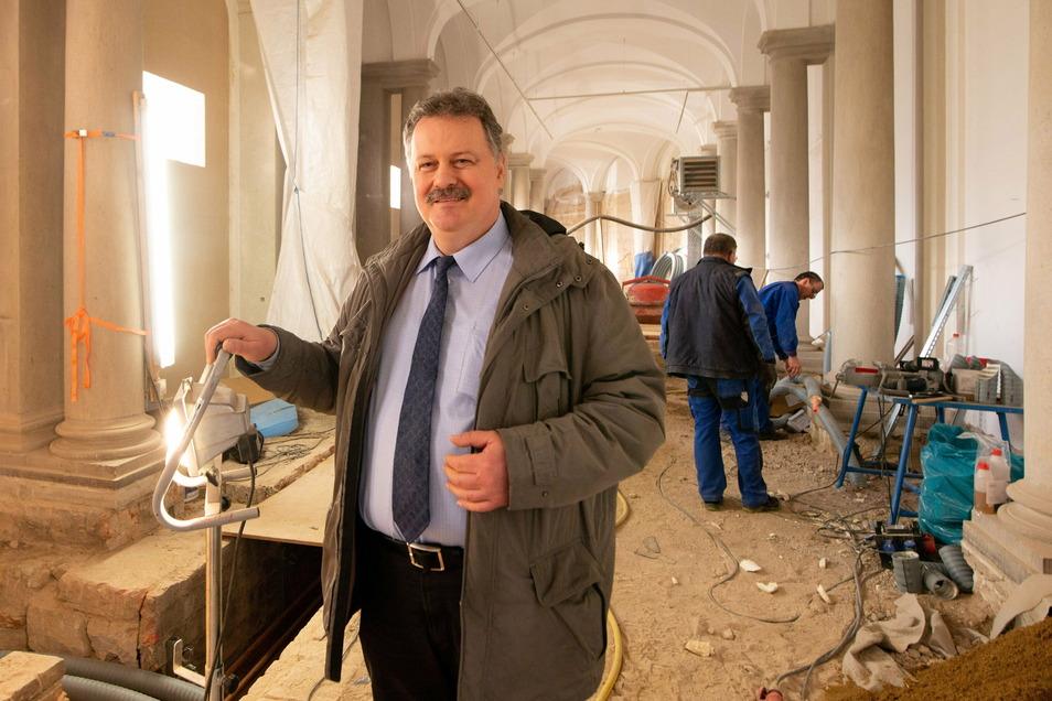 SIB-Niederlassungsleiter Ulf Nickol inspizierte regelmäßig den Ausbau der Bogengalerie L. Hier war er im Februar vergangenen Jahres dort unterwegs, als die Arbeiten voll im Gange waren.