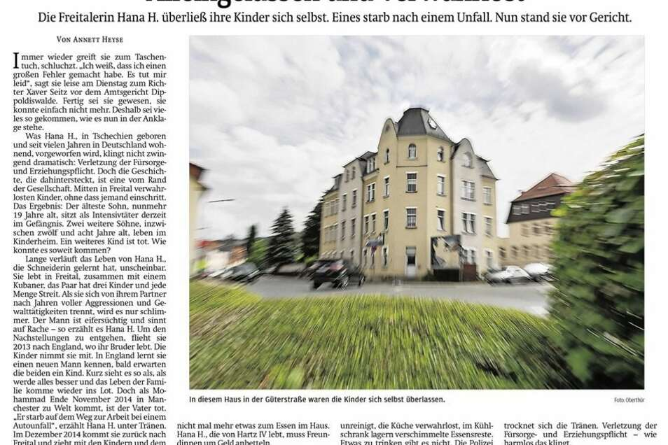 Die SZ berichtete am 13. Juni über den Gerichtsprozess. Die Mutter wurde zu einer Geldstrafe von 800 Euro wegen Verletzung der Fürsorgepflicht verurteilt.