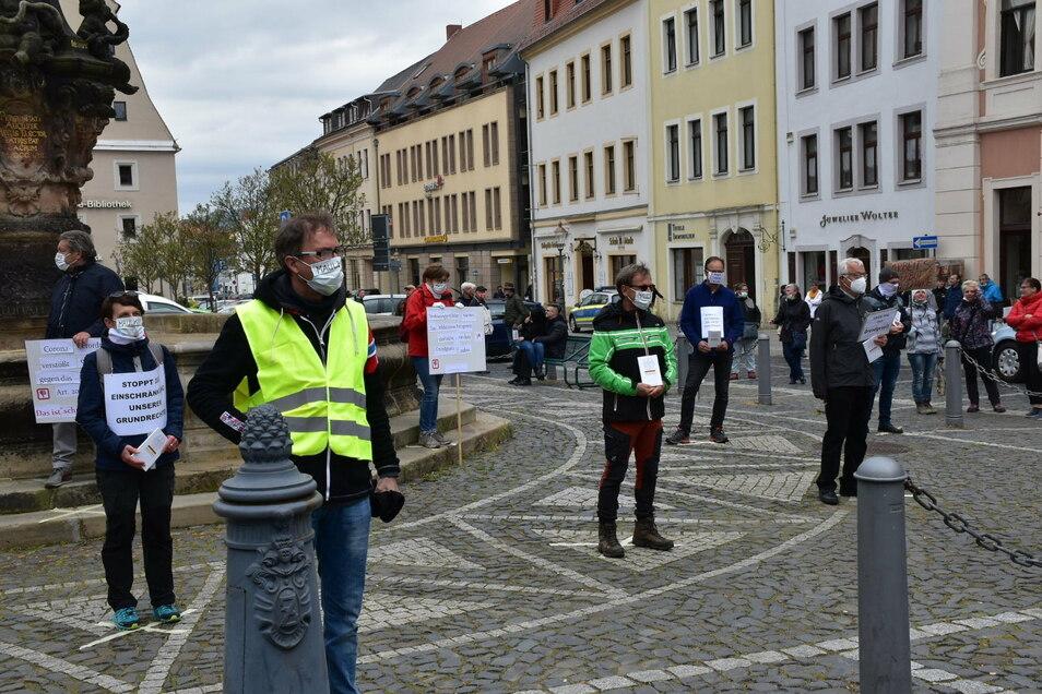 Mitglieder der Gruppe, die den offenen Brief schrieben, haben auch gegen die Corona-Schutzmaßnahmen in Zittau protestiert.