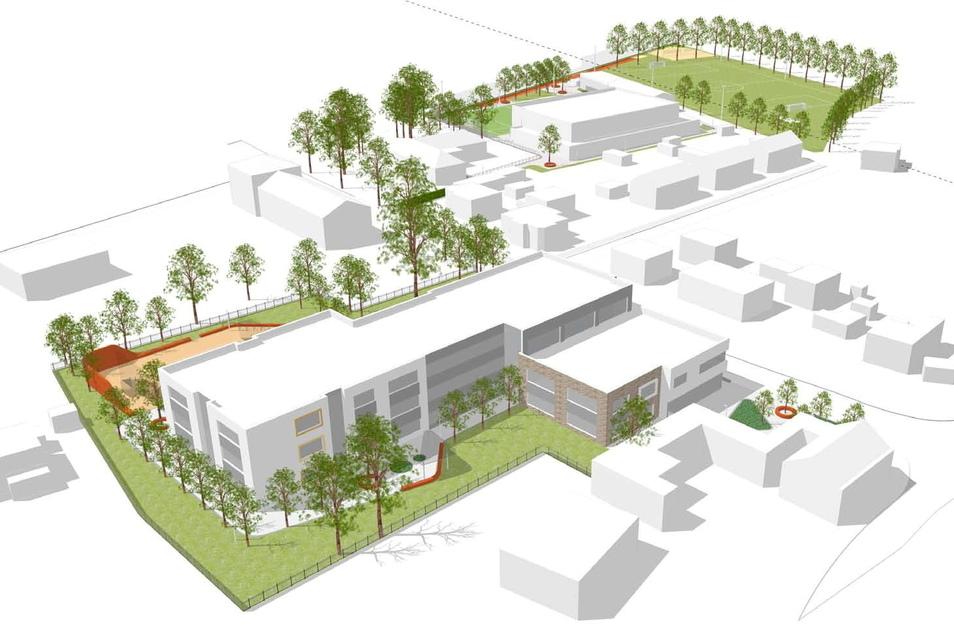 Der Rothenburger Neubaukomplex in der Entwurfsplanung: Auf der einen Seite der Uhsmannsdorfer Straße die Oberschule (vorn), auf der anderen Seite neben dem Sportplatz die Mehrzweckhalle (hinten).