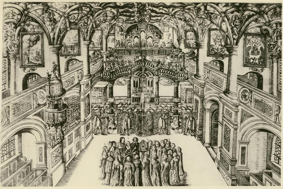 Stich der Dresdner Schlosskapelle von 1676, als hier Heinrich Schütz (Bildmitte) musiziert hat.