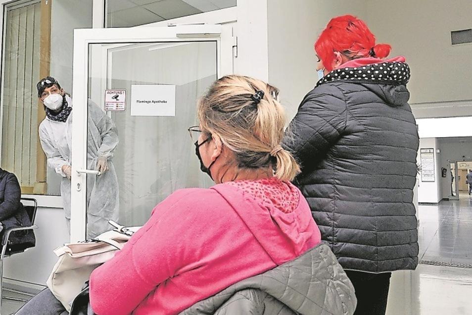 Anne-Marlen Koschkar, Inhaberin der Flamingo-Apotheke in Weißwasser, bittet die polnischen Mitarbeiterinnen der Boxberger Gartenbaufirma zum Corona-Test. Negativ hieß es kurz darauf – sehr zur Erleichterung der Frauen wie auch ihres Chefs.
