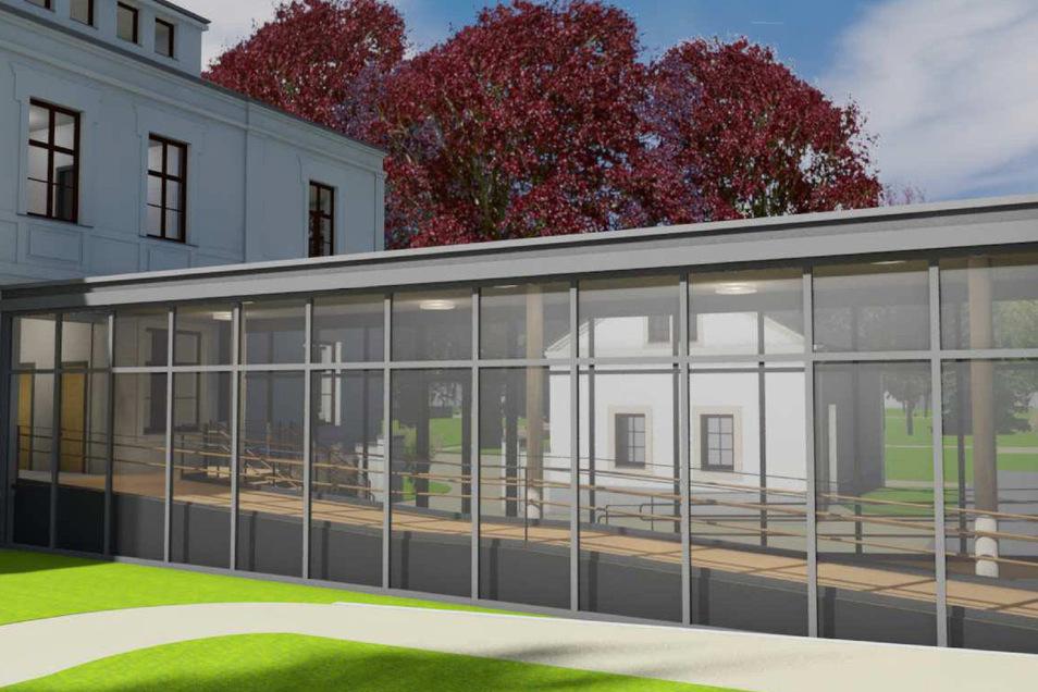Durch einen gläsernen Verbindungsgang kommt man vom Altbau in den Neubau.