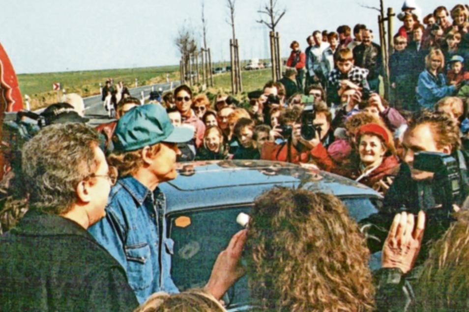Halb Lommatzsch war auf den Beinen, als der berühmte Sohn der Stadt und Ehrenbürger Terence Hill 1995 Lommatzsch besuchte.