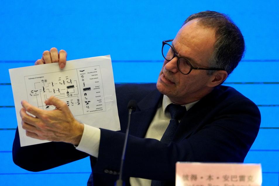 Peter Ben Embarek, Chef des Teams der Weltgesundheitsorganisation (WHO), hält eine Grafik hoch, die die Übertragungswege des Coronavirus zeigt. Vier Wochen waren internationale Experten in China, um die Herkunft des Coronavirus zu erforschen.