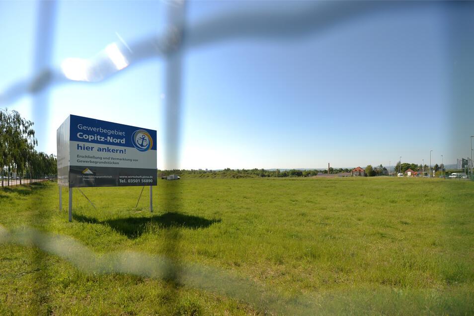 """Selbst in dem erst kürzlich erschlossenen Gewerbegebiet """"Copitz-Nord"""" gibt es nur noch ein unvermarktetes Grundstück."""