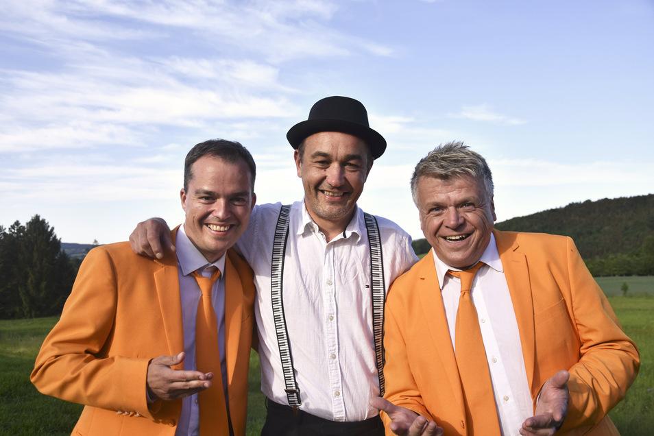 Drei, die für gute Laune sorgen: Andreas Thomas, Norman Reitner und Heiko Harig (v.l.). Sie moderieren den Stadtfestabend in Bischofswerda.