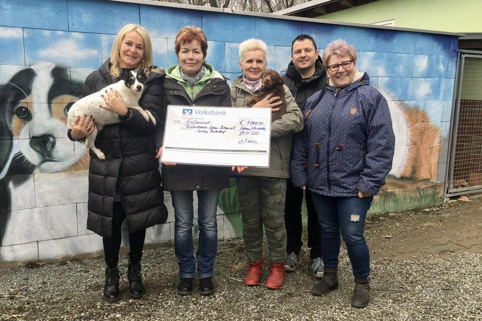 Ines Gottschling (li.) und Michael Heidler von der Bäckerei Schwerdtner haben den Scheck an Frau Rude, Frau Loske und Frau Mucke (v. l. n. r.) vom Tierheim übergeben.