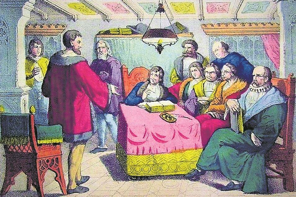 """Die Gründung des Sechsstädtebundes erfolgte am 21. August 1346 in Löbau. In dieser Lithographie, entnommen dem """"Goldenen Buche vom Vaterland"""", (Stadtarchiv Löbau) wurde sie nachempfunden."""